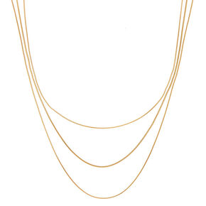 Gold Snake Chain Multi Strand Necklace,