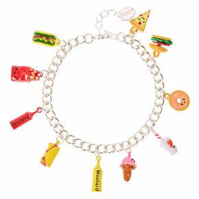 Bracelet couleur argenté à breloques «junk food»,
