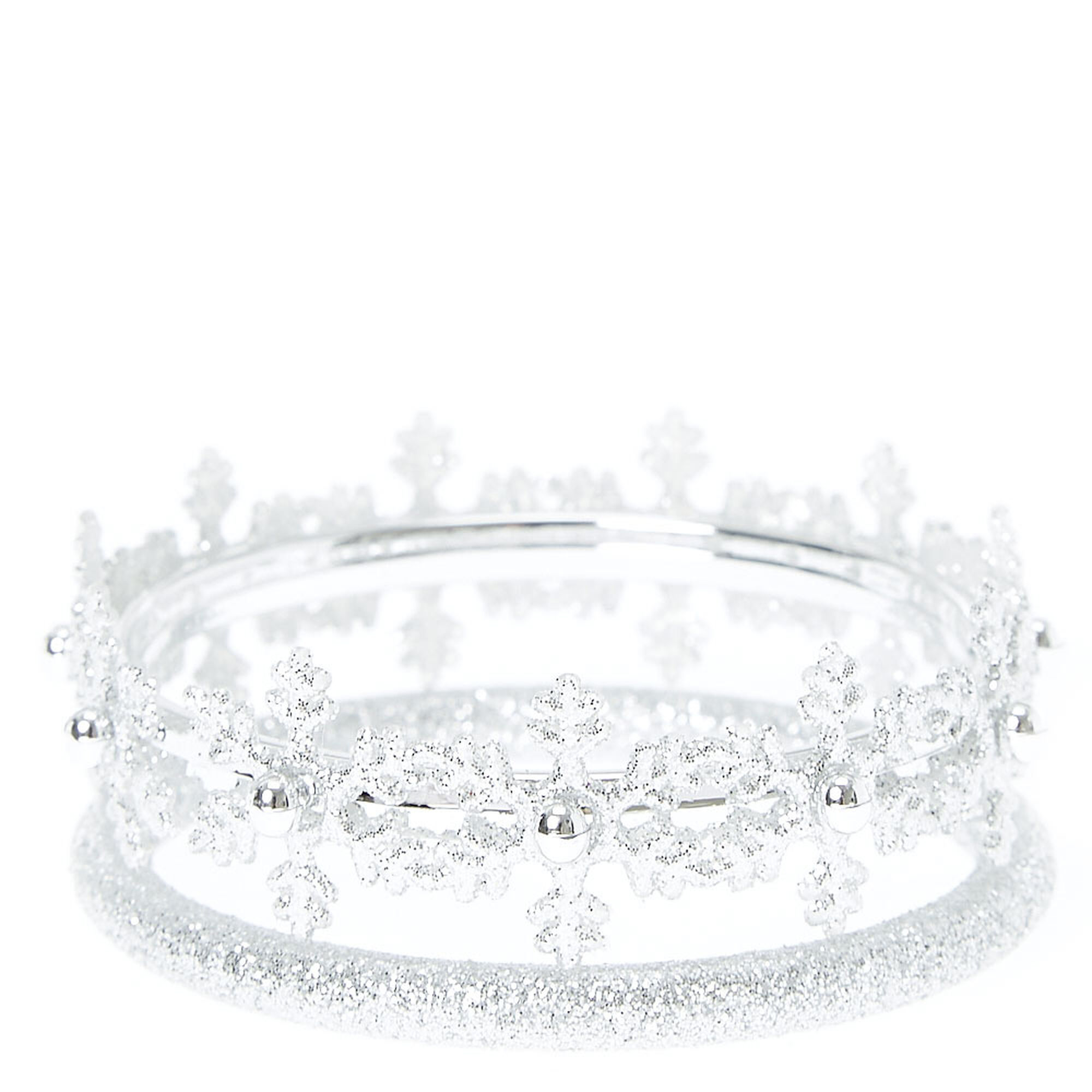 Kids 2 Pack Silver Glitter Snowflake Bangle Bracelets