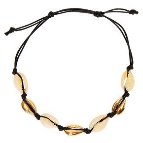 Bracelet de cheville coquillage cauri blanc et doré,