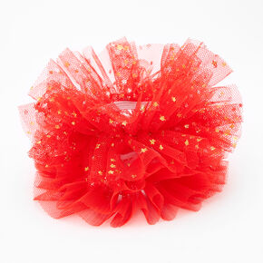 Claire's Club Small Star Tulle Hair Scrunchies - Red, 2 Pack,