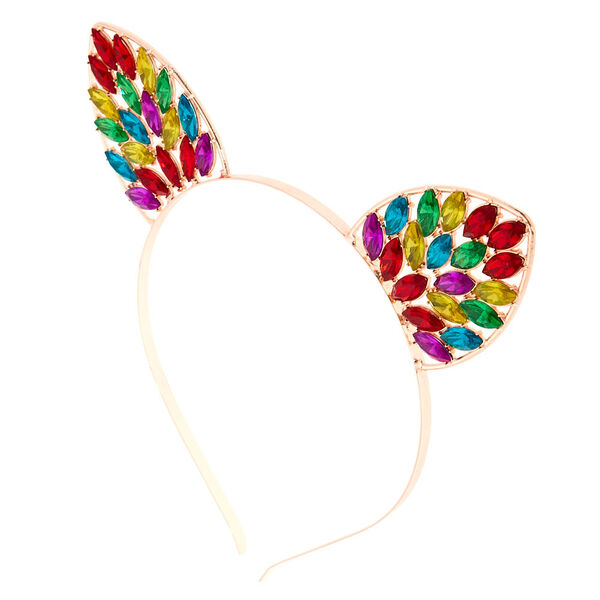 Claire's - rose rainbow bling cat ears headband - 1