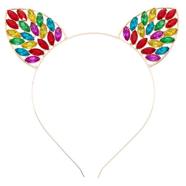 Claire's - rose rainbow bling cat ears headband - 2