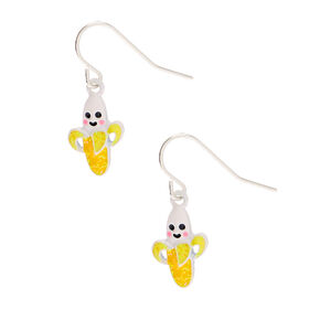 "Silver 1"" Happy Banana Drop Earrings - Yellow,"