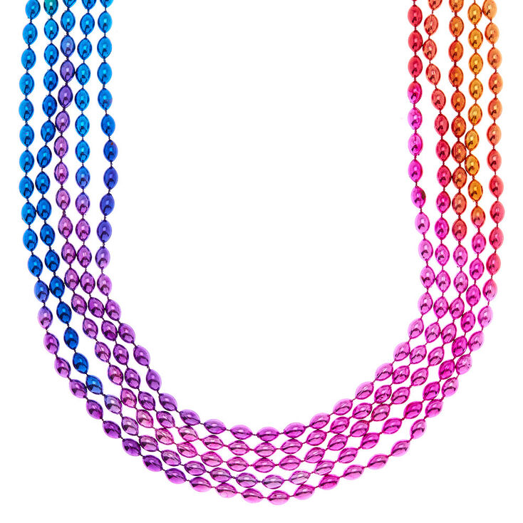 Ombre Rainbow Beaded Necklaces - 5 Pack,
