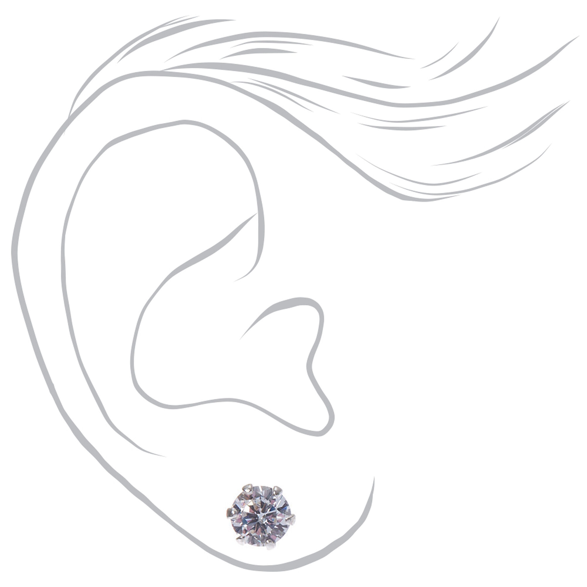 4498a05ac20b5f ... Sterling Silver Cubic Zirconia Graduated Round Stud Earrings - 3 Pack,