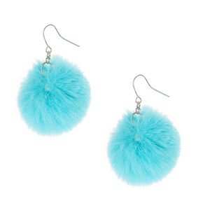 Blue Pom Pom Drop Earrings,