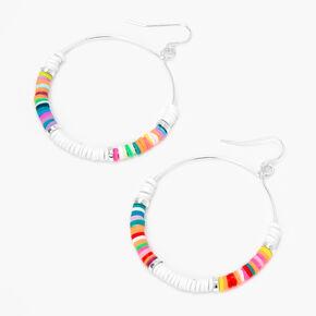 Silver 50MM Beaded Rainbow Hoop Earrings,