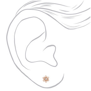 Rose Gold Titanium Crystal Daisy Stud Earrings,
