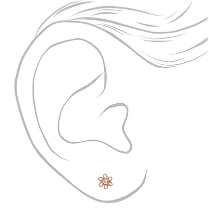 Rose Gold Titanium Crystal Daisy Stud Earrings,