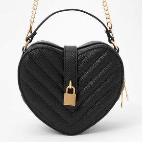 Chevron Quilted Heart Crossbody Bag - Black,