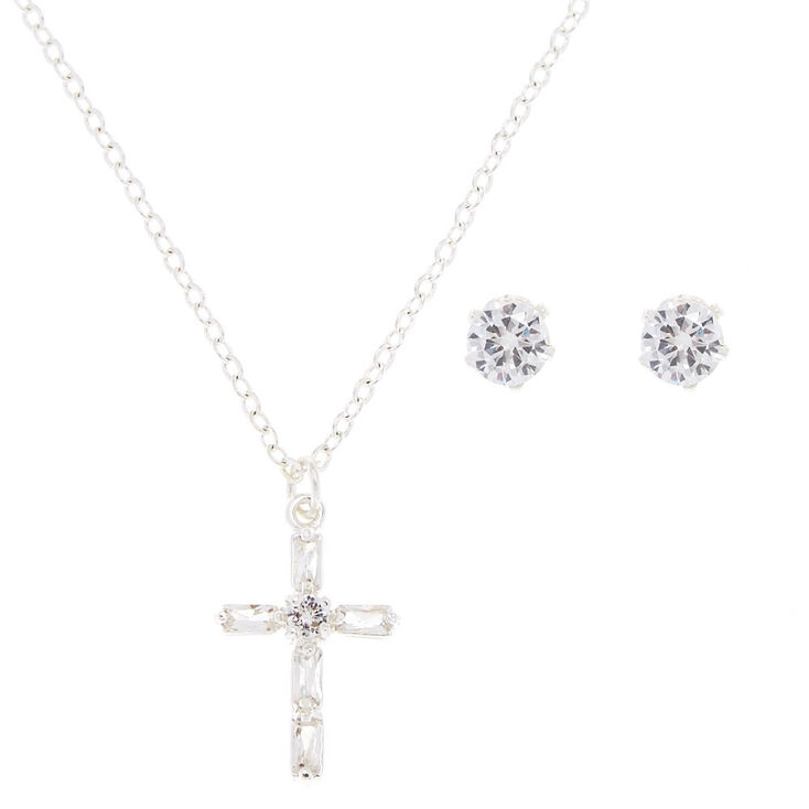 Silver-tone & Faux Glass Rhinestone Cross Pendant  Jewelry Set,
