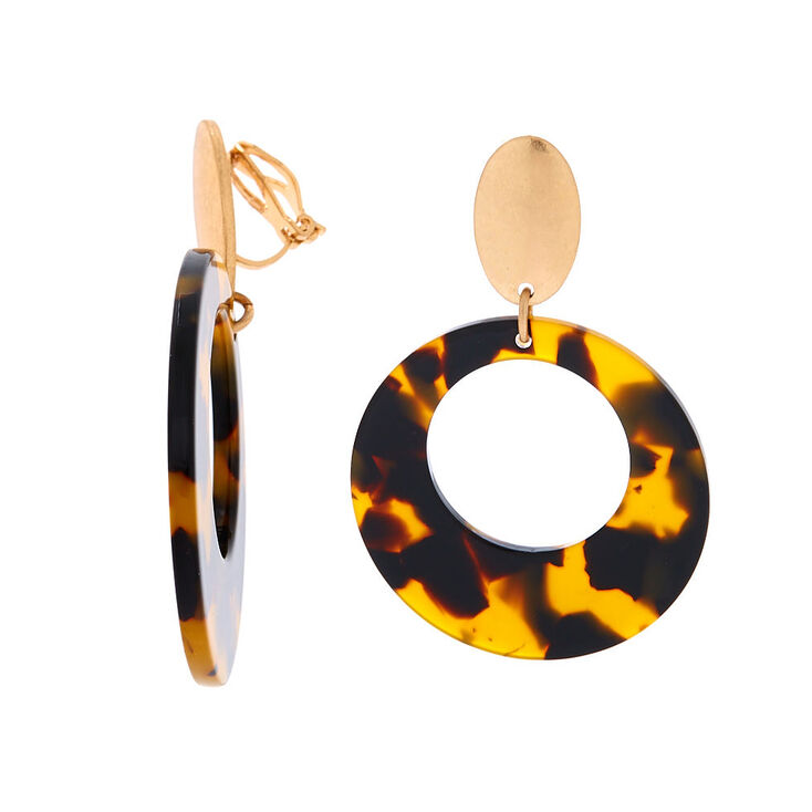 "Gold 2"" Round Resin Tortoiseshell Clip On Drop Earrings - Brown,"
