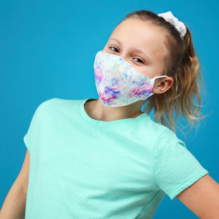 3 Pack Cotton Purple and Aqua Tie Dye Face Masks - Child Medium/Large,