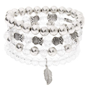Silver Owl Feather Beaded Stretch Bracelets - Clear, 4 Pack,
