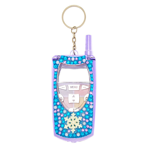 Claire's - snowflake bling flip phone makeup compact - 2