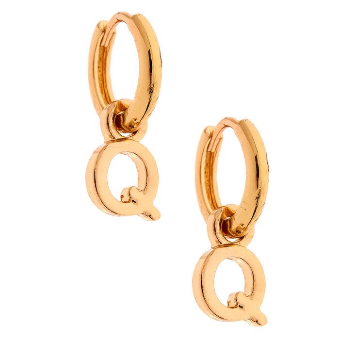 Gold 10MM Initial Huggie Hoop Earrings - Q,