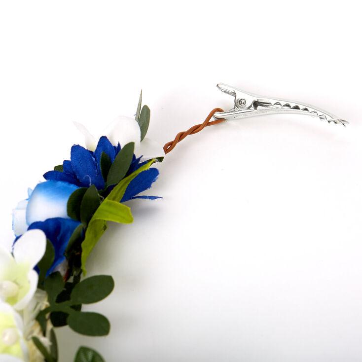 Navy & Ivory Flower Hair Swag,