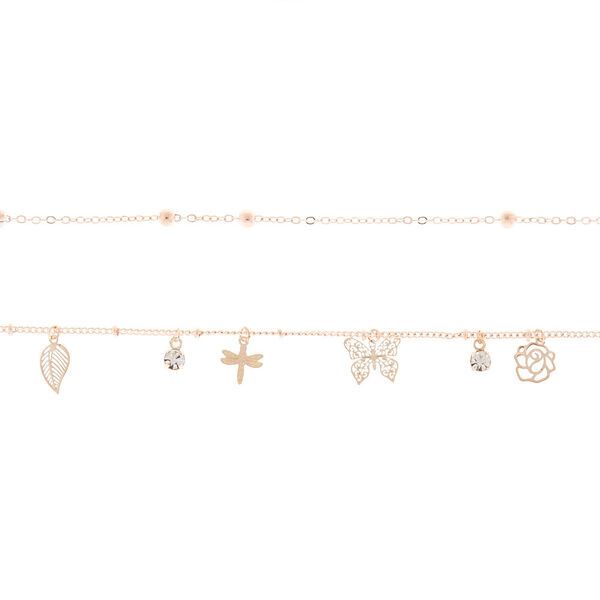 Claire's - rose butterfly charm choker necklace set - 2