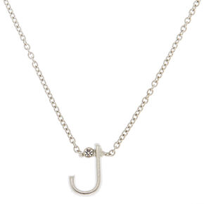 Silver Stone Initial Pendant Necklace - J,