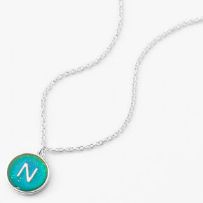 Silver Initial Mood Pendant Necklace - N,