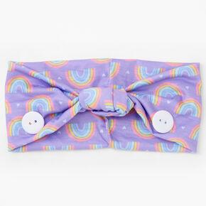 Claire's Club Rainbow Face Mask Headwrap - Purple,