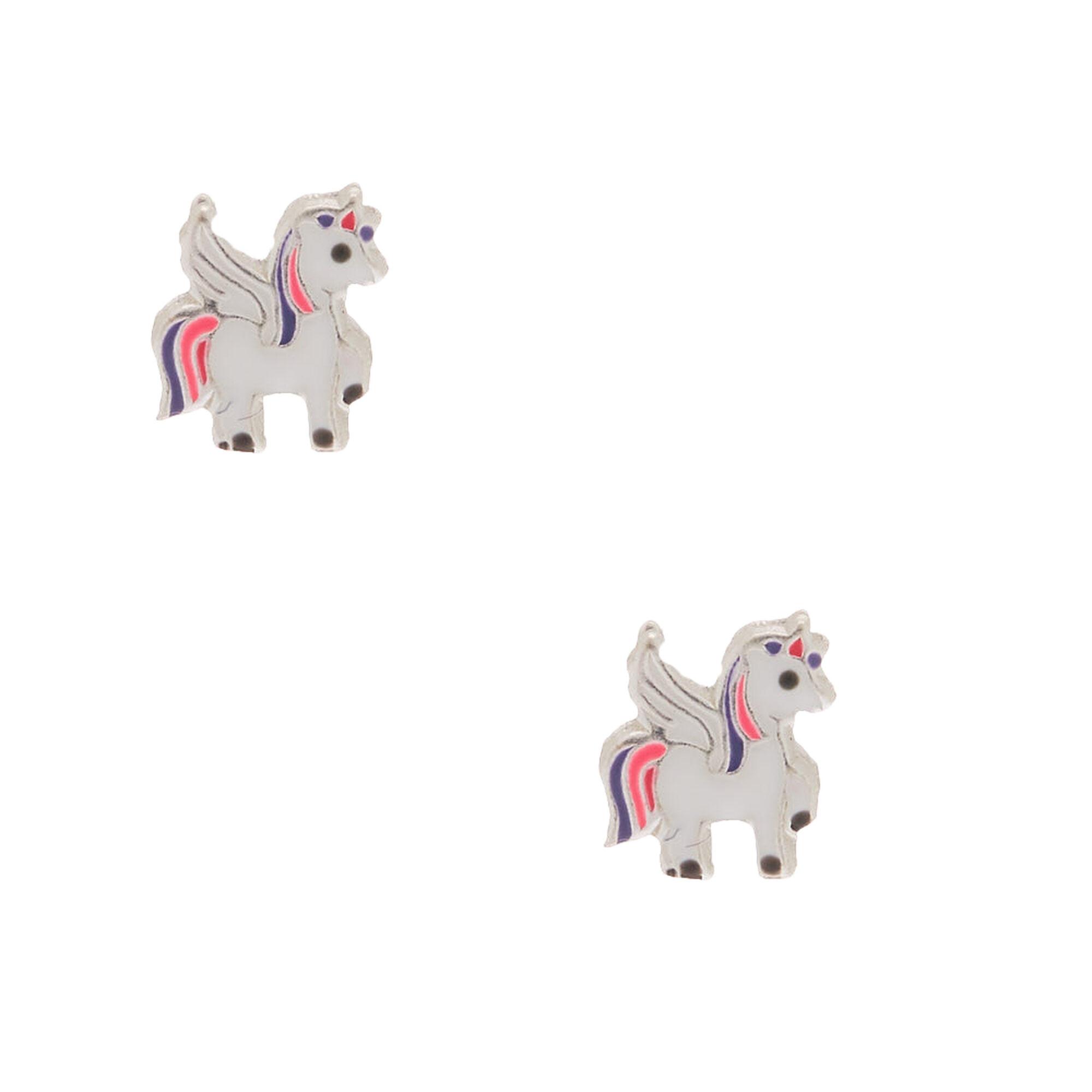 cd46ef6f4 Sterling Silver Pegasus Stud Earrings | Claire's
