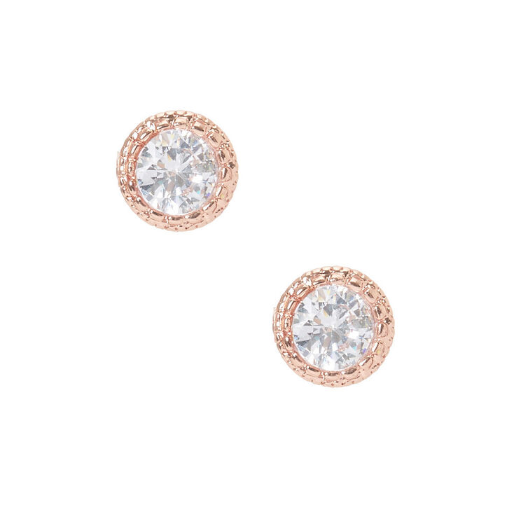5MM 18kt Rose Gold Plated Crystal Stud Earrings,
