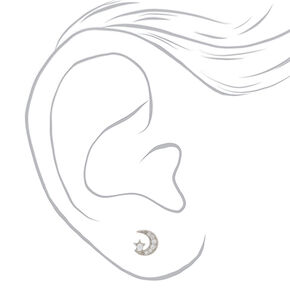 Sterling Silver Pearl Moon Stud Earrings,