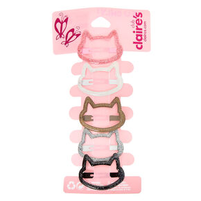 Lot de 5 barrettes clic clac chat à paillettes du Club Claire's,