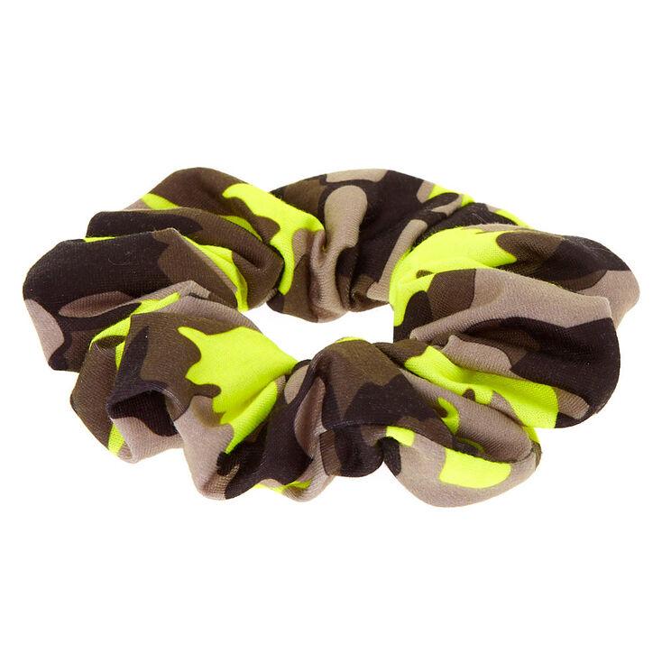 Medium Camo Print Hair Scrunchie - Neon Green,