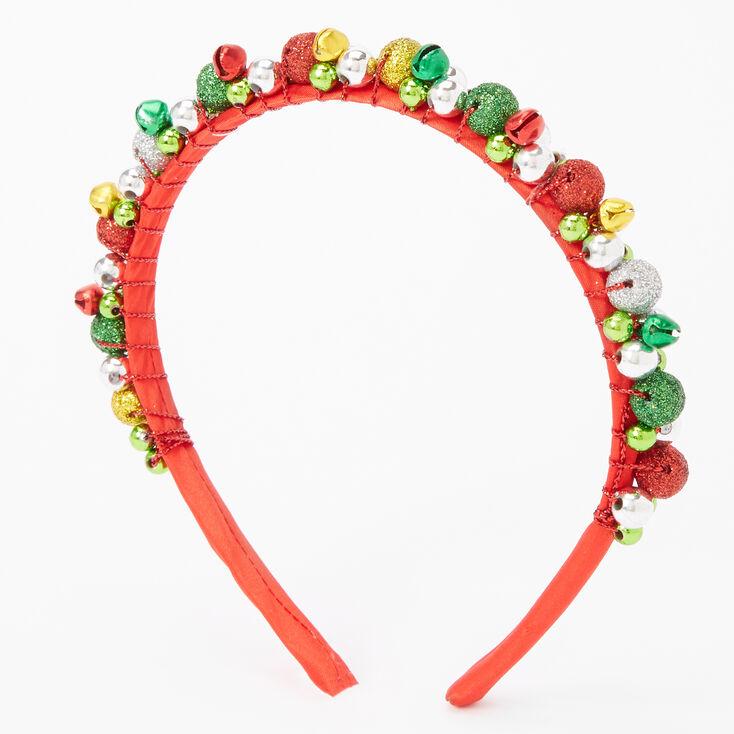 Glitter Jingle Bell Ornament Headband - Red,