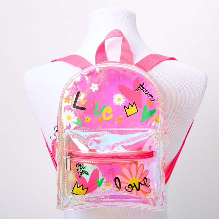 Iridescent Love Doodle Small Backpack - Clear,