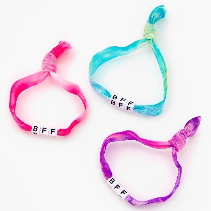 Best Friends Tie Dye Adjustable Fabric Beaded Bracelets - 3 Pack,