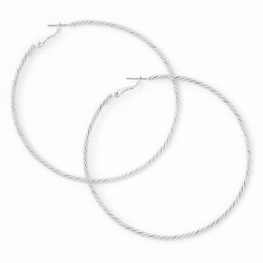 Silver 80MM Laser Cut Twisted Hoop Earrings,