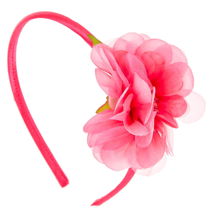 Hot pink flower headband claires us hot pink flower headband mightylinksfo