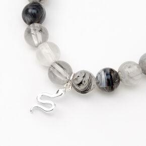 Silver Snake Beaded Stretch Bracelet - Gray,