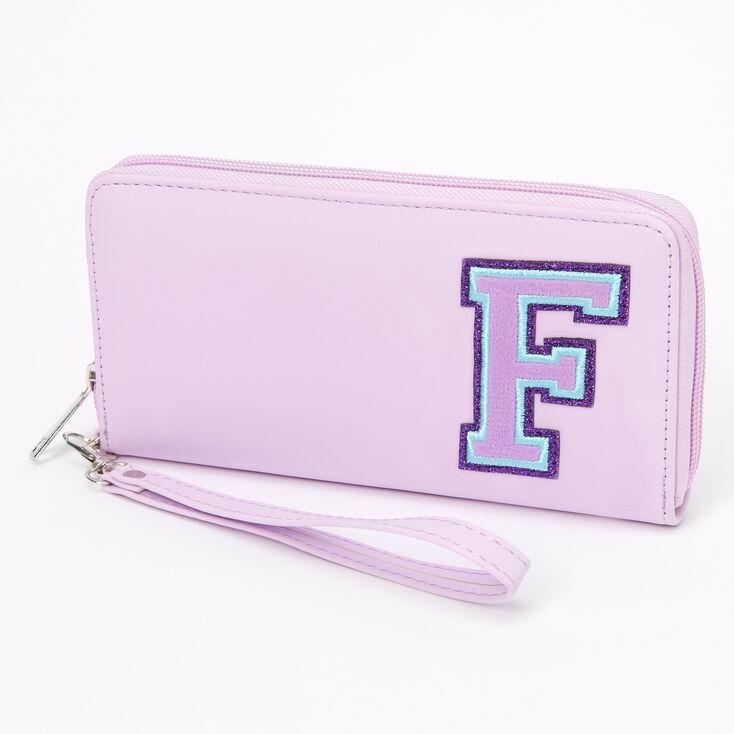 Purple Varsity Initial Wristlet - F,