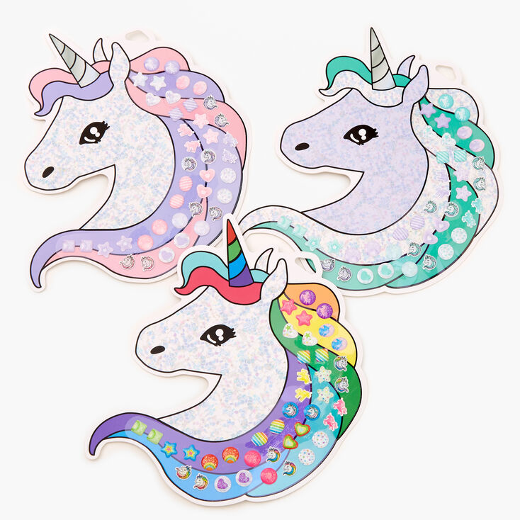 Claire's Club Lilac Unicorn Stick On Earrings Bundle - 3 Pack,