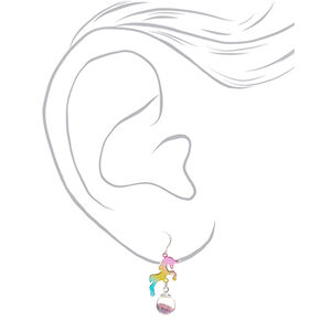 "1"" Rainbow Unicorn Drop Earrings,"
