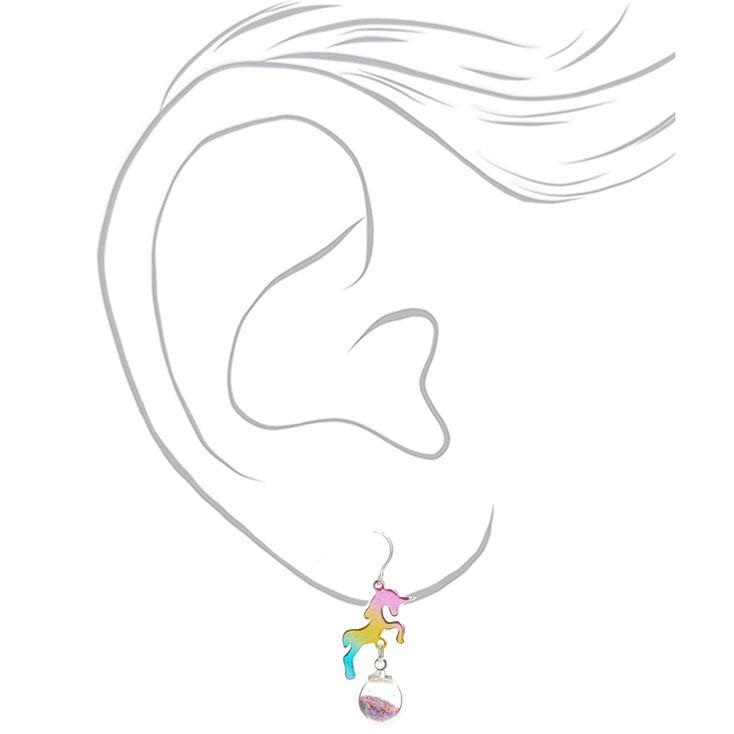 """1"""" Rainbow Unicorn Drop Earrings,"""