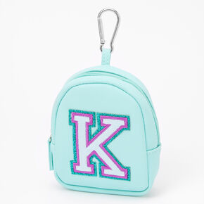 Mint Varsity Initial Mini Backpack Keychain - K,