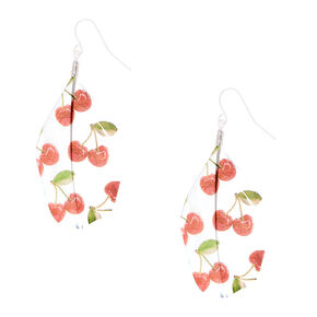 """Silver 2"""" Cherry Feather Drop Earrings - Red,"""