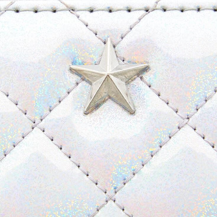 Mini portefeuille matelassé holographique couleur argenté,