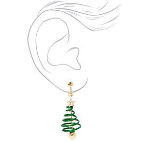 "Gold 1"" Spiral Tree Clip On Drop Earrings - Green,"