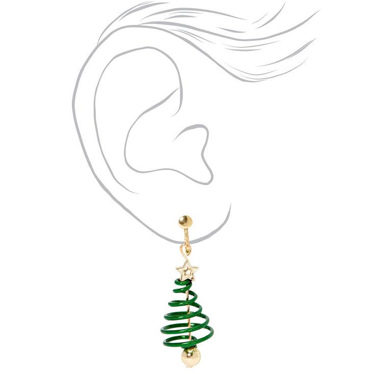"Gold 1"" Spiral Tree Clip On Drop Earrings - Green,"