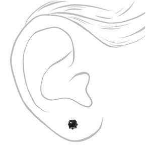 Black Cubic Zirconia Square Stud Earrings - 4MM,