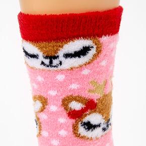 Deer Crew Socks - Red,