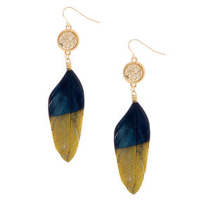 "Gold 3"" Metallic Feather Drop Earrings - Black,"