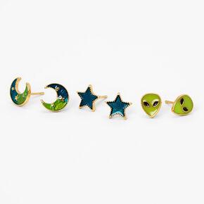 18kt Gold Plated Space Alien Stud Earrings - 3 Pack,